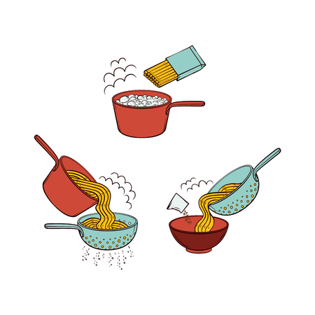 Vector flat spaghetti, pasta or noodles preparation steps icon set. Noodles boiling in pot, draing water in colander with handle, serving pasta in ceramic bowl and salting. Isolated illustration Vettoriali