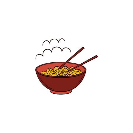 Vector flat noodles icon. Prepared hot instant spaghetti italian pasta or chinese, japanese asian wok food in ceramic pot, bowl with bamboo shopsticks. Isolated illustration on a white background.