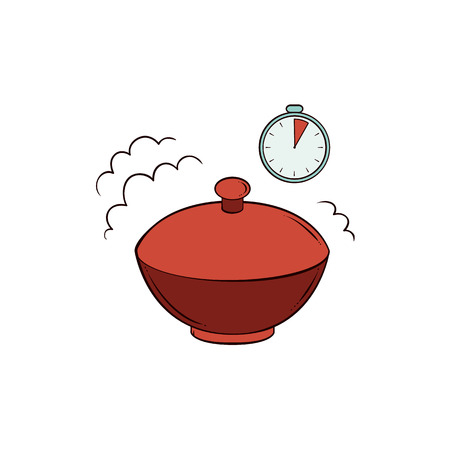 Vector flat noodles icon. Instant spaghetti, italian pasta or chinese, japanese asian wok food in ceramic closed pot, bowl and stopwatch timer. Isolated illustration on a white background.