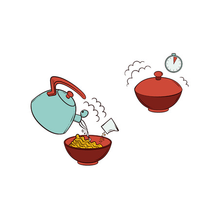 Vector flat spaghetti, pasta or instant noodles preparation steps icon set. Pouring boiling water from teapot in ceramic bowl with pasta, closing bowl, waiting. Isolated illustration white background