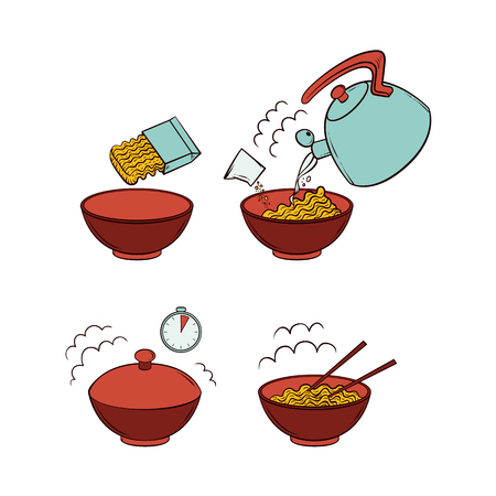 Vector flat spaghetti pasta or instant noodles preparation steps icon set. Opening packaging, pouring boiling water from kettle, closing ceramic bowl, wait, eat. Isolated illustration white background Ilustracja