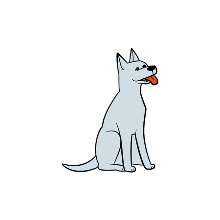 Funny grey house dog, puppy sitting with red tongue out, hand-drawn vector illustration isolated on white background. Drawing of funny friendly sitting dog, puppy character