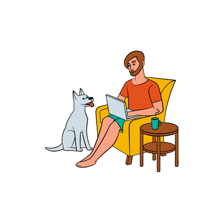 Young man, guy sitting in armchair with laptop and dog, home office, freelancer concept, hand-drawn vector illustration isolated on white background. Young man working from home, freelancer Vettoriali
