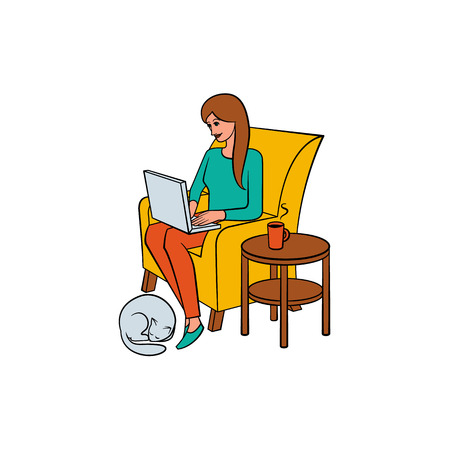 Young woman, girl sitting in armchair with laptop and cat, home office, freelancer concept, hand-drawn vector illustration isolated on white background. Girl, woman working from home, freelancer