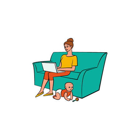 Young mother, woman, girl on parental leave sitting on sofa with laptop, working from home, freelancer, hand-drawn vector illustration isolated on white background. Mother, woman working from home