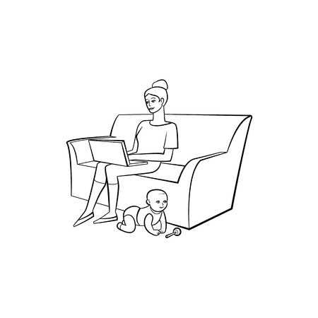 Vector cartoon people working from home, remote, freelance work . Adult woman sitting at sofa, laptop at knees typing with infant baby playing with rattle toy. Isolated monochrome illustration