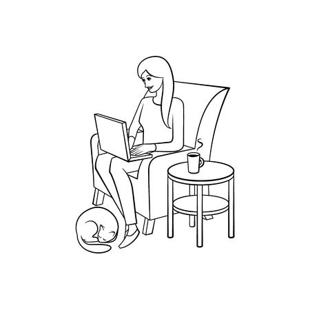 Vector cartoon mensen werken vanuit huis, afgelegen, freelance werk. Volwassen vrouwenzitting bij leunstoellaptop bij knieën die met dichtbij slaap van het hondhuisdier typen. Geïsoleerde zwart-wit afbeelding, witte achtergrond