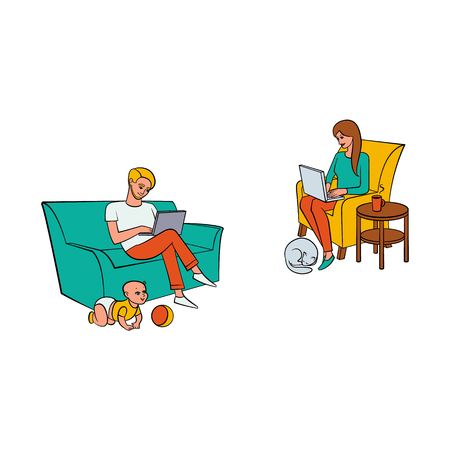 Vector cartoon people working from home, remote, freelance work set. Adult man sitting at sofa with infant baby playing around, laptop at knees, girl at armchair typing near dog, Isolated illustration Vectores