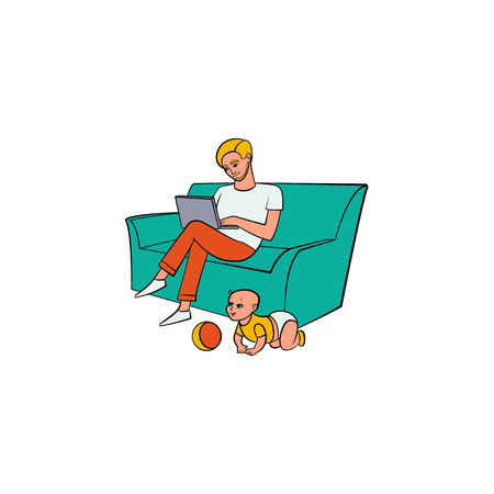 Vector cartoon people working from home, remote, freelance work. Adult man sitting at sofa, laptop at knees typing with infant baby playing with ball around. Isolated illustration, white background