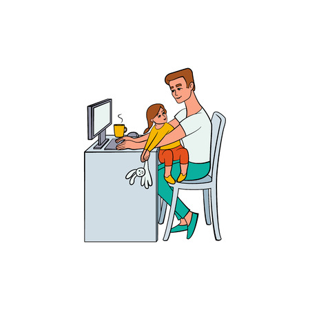 Vector cartoon people working from home, remote, freelance work . Adult man sitting at workplace typing at desktop keyboard with girl child playing with rabbit toy at knees. Isolated illustration