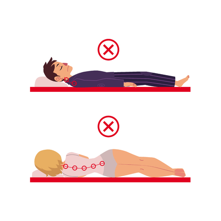 Incorrect neck, spine alignment of young cartoon man and woman character sleeping with back, side sleeping posture. Healthy sleeping positions. Back, spine care concept. Vector isolated illustration