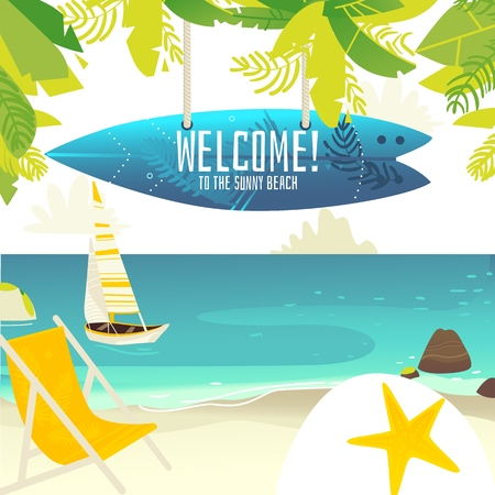 Tropic palm beach banner, card, postcard with yacht, lounge chair and surfboard with place for text, summer vacation, flat cartoon vector illustration. Beach vacation banner - yacht and lounge chair Ilustrace