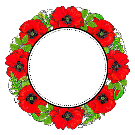 Round frame of red poppy flowers and green leaves with empty space for text, sketch, hand drawn vector illustration isolated on white background.