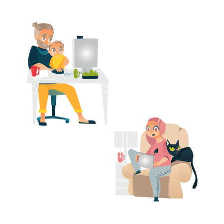 Vector cartoon people working from home, remote, freelance work .