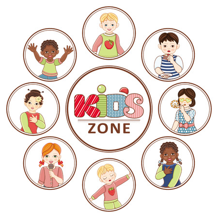 Vector flat multinational kids zone portraits in circles set. african black, caucasian and asian boy and girl kids icon dancing singing having fun. Isolated illustration, white background. Illustration