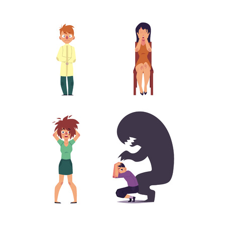 vector flat mental illness set. Woman with depression sitting at chair crying, girl with mental anxiety problem holding disheveled hair, male character sitting with monster shadow, man in straitjacket Illustration