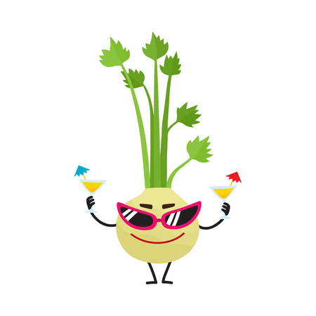 Funny celery character with human face wearing sunglasses, holding cocktails, cartoon vector illustration isolated on white background. 向量圖像