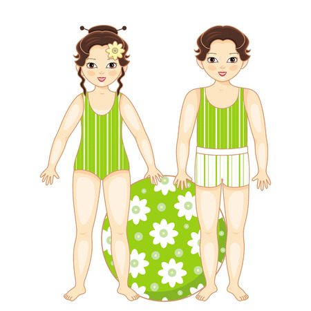 Vector flat asian brunette boy girl kids friends standing in summer swimsuit smiling with inflatable ring with flowers.