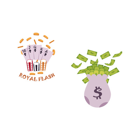 vector flat bag with dollar cash. Plenty of money in sack, royal flush in spades poker cards, rain of golden coins around, casino chips. Isolated illustration on a white background. Illustration