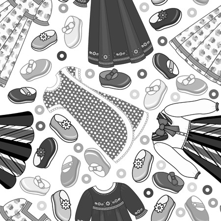 Vector flat girl child kid, female character clothing, clothes seamless pattern. Boots, dress summer monochrome fashion textile. Black and white background illustration. Standard-Bild - 94833263