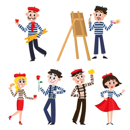 Set of funny stereotypical French characters, food, mimes and people, cartoon, comic style vector illustration isolated on white background. French people, mimes, artist, food - symbols of France