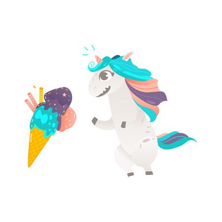 Funny unicorn character eager, wanting to eat an ice cream cone, flat cartoon vector illustration isolated on white background. Portrait of unicorn character with rainbow mane and giant ice cream cone Illustration