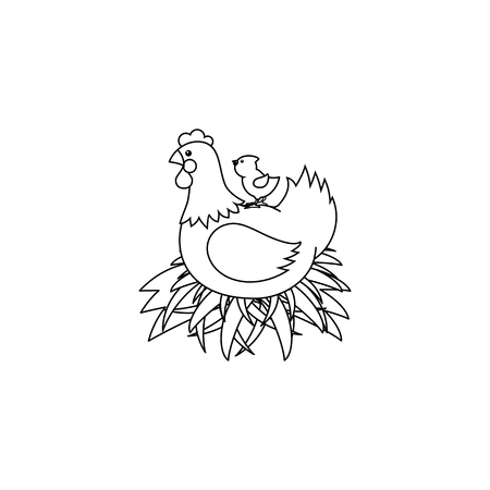 vector flat hand drawn monochrome hen chicken, rooster, cock sitting in hay nest and yellow small chick icon. Isolated illustration on a white background. Farm poultry chicken for coloring book design