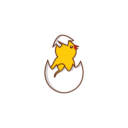 vector platte schattige baby kip Gele kleine grappige kuiken broedeieren van ei. Platte vogel dier, geïsoleerde illustratie op een witte achtergrond, gevogelte, boerderij natuurvoeding reclame design object. Stock Illustratie