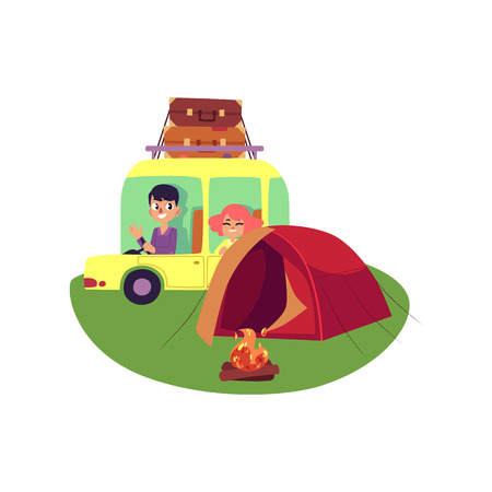 vector flat people in vintage minivan vehicle with big bags at roof, man girl in car near camping tent, bonfire . Road trip, travelling concept. Isolated illustration white background. Ilustracja
