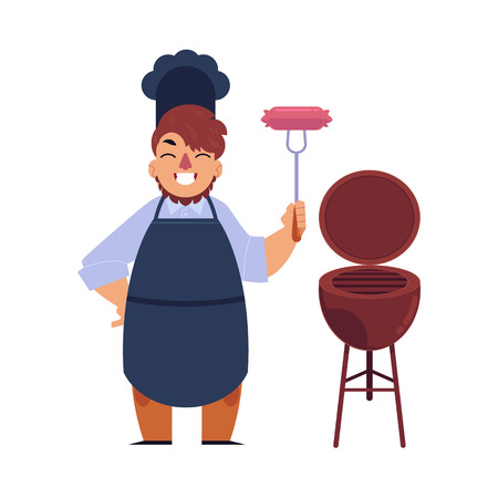Vector flat barbecue symbols set. Chef holding fork with grilled sausages, bbq coal grill for picnic party. Restaurant menu design elements, isolated illustration white background Illustration