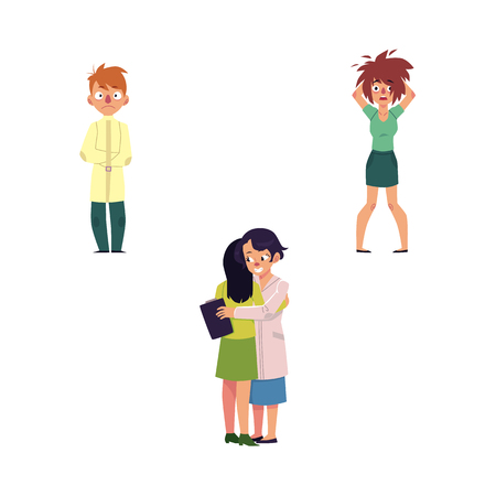 vector flat mental illness set. Woman doctor with clipboard hugging female patient, girl with mental anxiety problem holding disheveled hair, male character with madness, man in straitjacket isolated