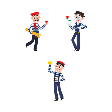 vector flat French parisian culture, traditional people set. Mime man clown in striped pullover, beret with rose, male characters eating cheese, drinking wine, holding baguette. Isolated illustration
