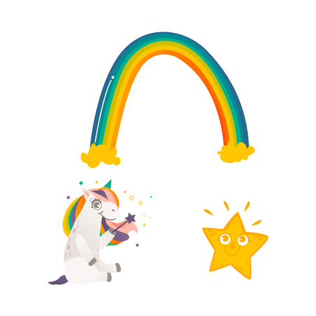 Vector cartoon funny stylized unicorn sitting smiling with rainbow colorful hair and horn holding magic wand, shiny star and rainbow. Fairy mysterious creature, isolated illustrationwhite background