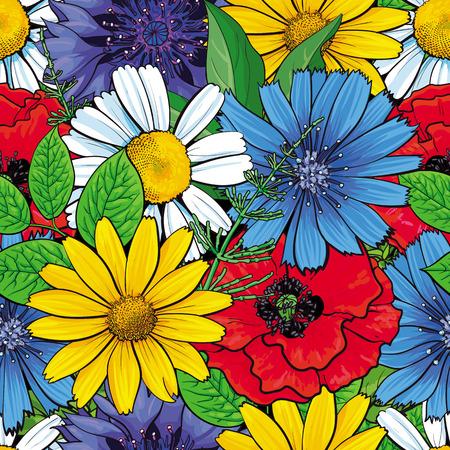 Vector Hand gezeichnete Skizzenillustration der roten Mohnblume, Kornblume, Kamillengänseblümchenblumen, nahtloses Muster der Blätter. Natürlicher mit Blumendekorationshintergrund, Hintergrundelement für Gewebe, Textildesign. Vektorgrafik