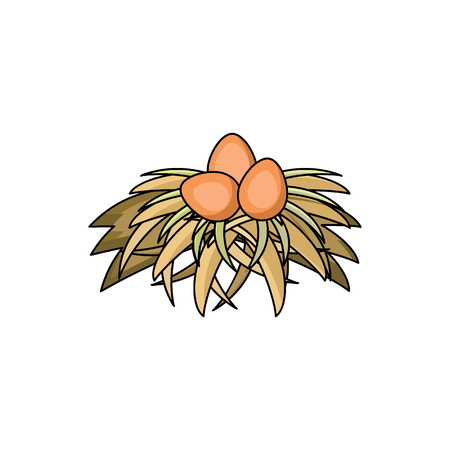 干し草の巣分離アイコンでベクトルフラット鶏鶏茶色の卵。白い背景にイラストを使用します。広告、ポスターデザインのための農場の家禽鶏のオ