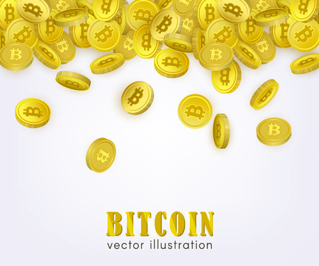 Bitcoin, cryptocurrency banner, flyer template with many golden coins falling down, vector illustration on white background. Bitcoin banner template - coins with capital letter B sign falling down