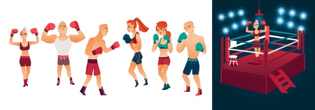 vector cartoon stylized men women in different poses with boxing gloves ready to fight and red illuminated ring set. Isolated illustration on a white background.