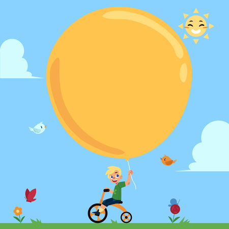 Cute little boy riding a bicycle, cycling with big balloon in hand, cartoon vector illustration, banner template with place for text. Happy boy, child, kid riding a bike with big balloon in hand 版權商用圖片 - 94982949