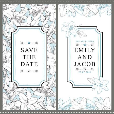 Satz von zwei vertikalen Hochzeitseinladungsdesignen mit schönen von Hand gezeichneten Blumen der weißen Lilie, Vektorillustration. Speichern Sie das Datum, Hochzeitseinladungsschablonen mit Blumen der weißen Lilie und setzen Sie für Text Standard-Bild - 94983169