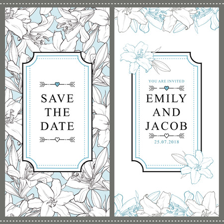 Set of two vertical wedding invitation designs with beautiful hand-drawn white lily flowers, vector illustration. Save the date, wedding invitation templates with white lily flowers and place for text Zdjęcie Seryjne - 94983169