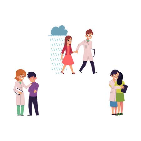 Vector plate maladie mentale définie. Femme médecin étreignant une fille souffrant de dépression, souriant, aidant un patient tenant la main d'un spécialiste des problèmes mentaux chez la femme, femme spécialiste, calmant un homme en deuil. Illustration isolée
