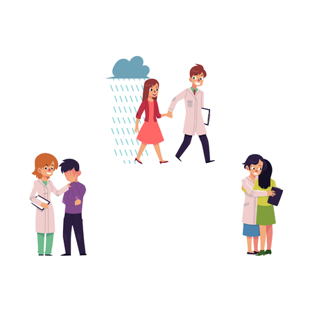 vector flat mental illness set. Woman doctor hugging girl with depression, smiling man helping patient holding hand of mental problem girl female specialist calming grieving man. Isolated illustration