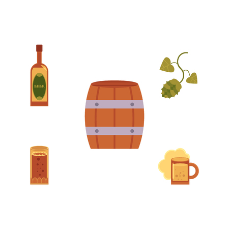 Vector cartoon beer symbols icon set. Big mug, cup and glass bottle of golden lager cool beer with thick foam, green hop cones with leaves, wooden keg barrel . Isolated illustration, white background