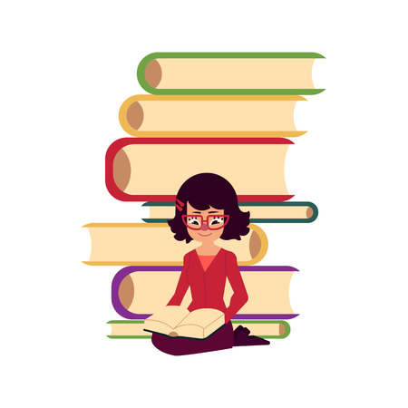 Pile of books and young woman, girl, adult sitting and reading, flat cartoon vector illustration isolated on white background. Pile of books and front view portrait of reading girl, woman in glasses Illustration