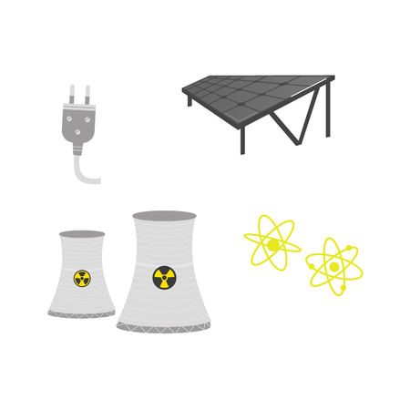 vector flat cartoon solar panels battery, sun power cells plant, nuclear reactor, power plug, atoms set. Isolated illustration on a white background. Dirty and green eletricity source concept Illustration