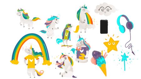 Vector cartoon unicorns, magic objects set. Unicorns, walking puking rainbow, eating doughnut, skateboarding, playing with magic wand. Illusztráció
