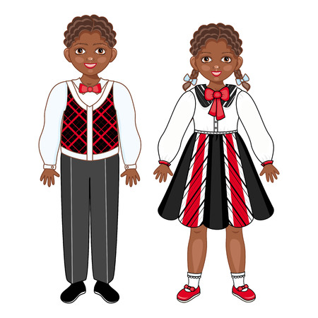 Vector flat african black boy and girl kids friends standing smiling. Male, female characters in festive clothing with happy expression. Isolated illustration, white background.