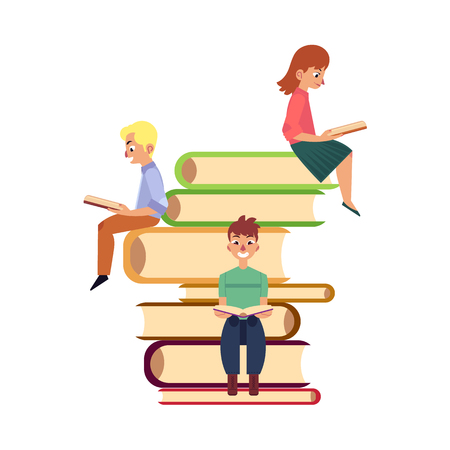 People, men and woman, sitting, reading on giant pile of books, flat cartoon vector illustration isolated on white background. Reading concept illustration with people sitting on pile of giant books