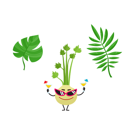 Vector flat summer symbols set - tropical green fern, monstera leaf and celery character in sunglasses holding cocktails icon. Isolated illustration on a white background for advertising poster design