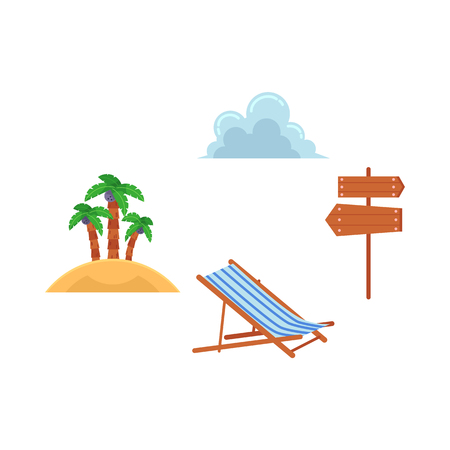 Vector flat travelling, beach vacation symbols icon set. Summer holiday rest elements.